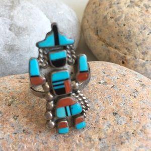 Vintage Native American Zuni Kachina Ring by SJ